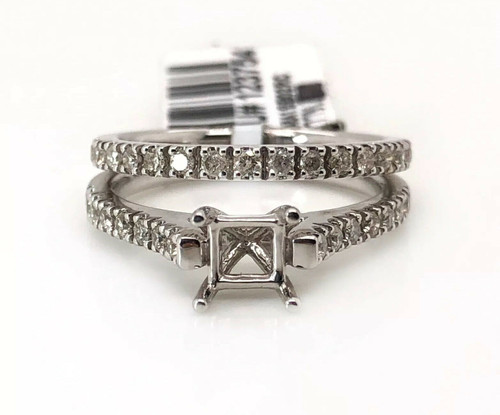 0.42Ct Diamond Semi Mount Ring & Matching Band 14k White Gold Square Cent 5.5 mm