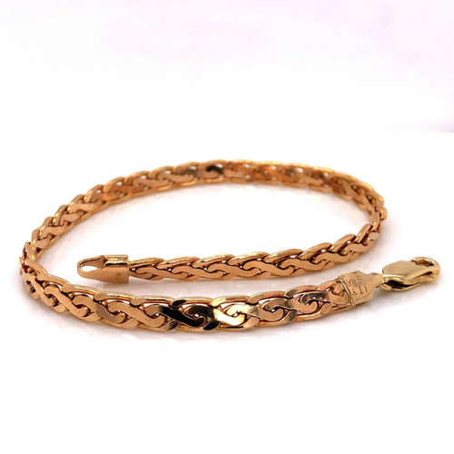 "14K Solid Yellow Gold Byzantine Link Chain Bracelet 8.75"" 12.1 Grams"