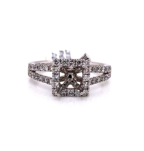 14K White Gold 0.69 TCW Diamond Semi Mount Engagement Ring Center 5.5 mm Square