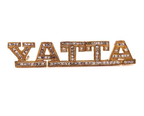 "10K Yellow Gold Custom Name Yatta ""I Did It"" Rap Pendant 2.8Ct Princess Diamond"