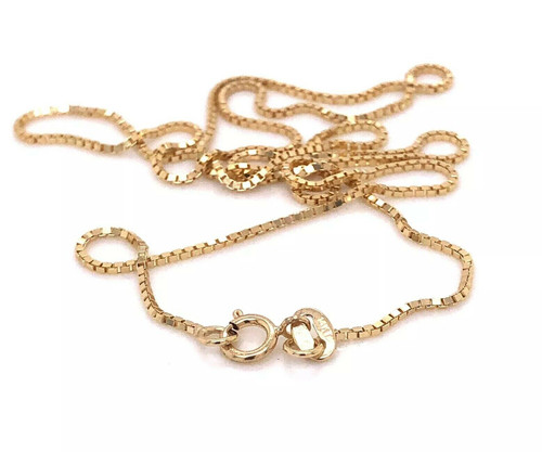 Men/Women14k Yellow Gold Box chain 18 inches, 1mm wide, 2.7 Grams