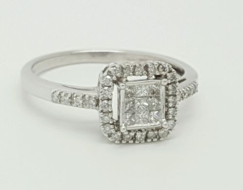14k white gold 0.72 Ct genuine round & princess cut diamond engagement Halo ring