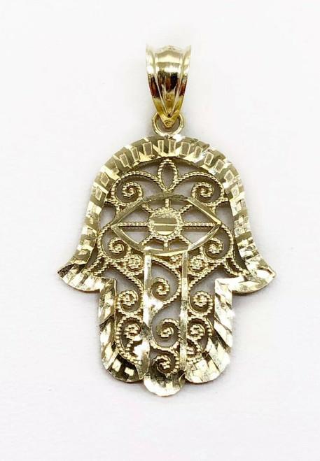 "10K Yellow Gold Khamsa Hamsa Hand Lucky Jewish Filigree Pendant 0.87"" 1.6 Grams"