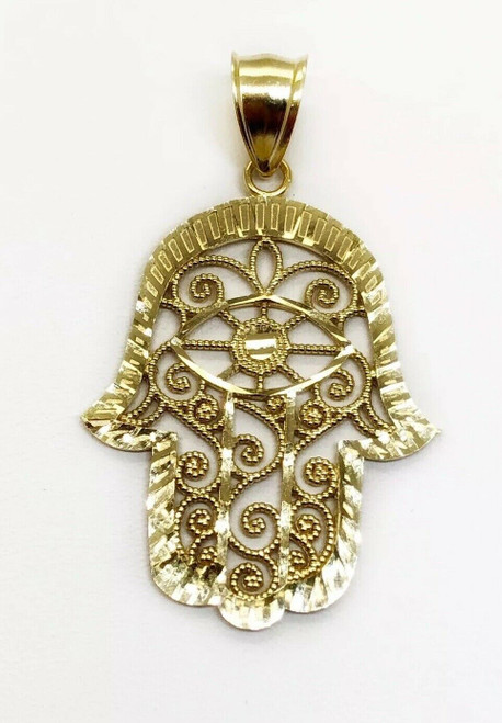 "10K Yellow Gold Khamsa Hamsa Hand Lucky Jewish Filigree Pendant 1.25"" 3 Grams"