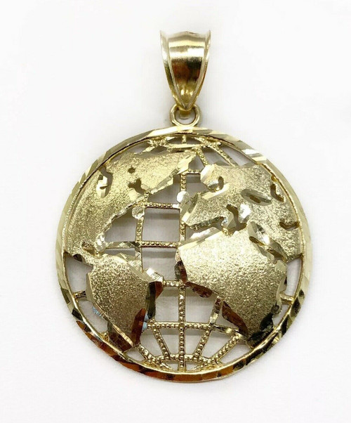 "Real 10K Yellow Gold 1.10"" Round Globe Planet Earth World Map Pendant 3.2 Grams"