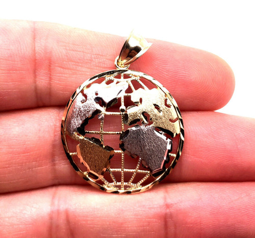 "Real 10K Two Tone Gold 1.10"" Round Globe Planet Earth World Map Pendant 3.2 Gr"