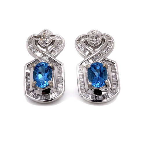 18k White Gold 3.5 Ct Natural Diamond & Blue Topaz Omega Back Earrings