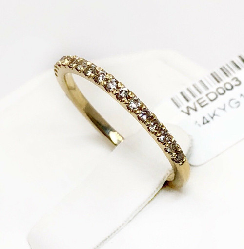 14K Yellow Gold 0.20 Ct Natural Diamond Half Eternity Wedding/Matching Band