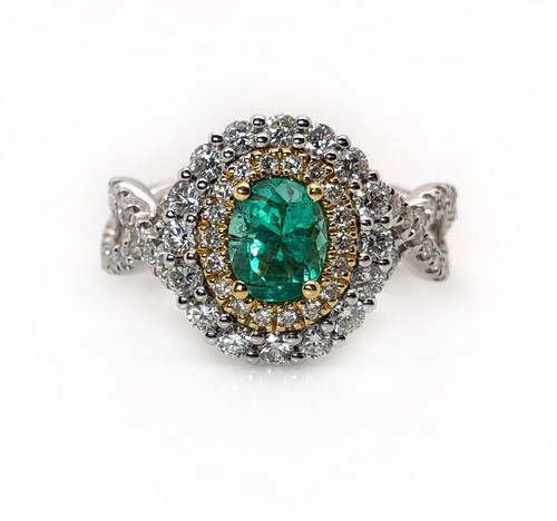 18k White Gold Natural Diamond & Emerald Double Halo Ring 1.50 TCW VS2,G