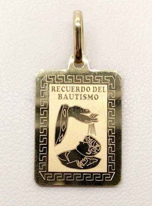 14k Yellow Gold Baby Charm Pendant Niño/Niña Baptism Bautismo Greek Key Design