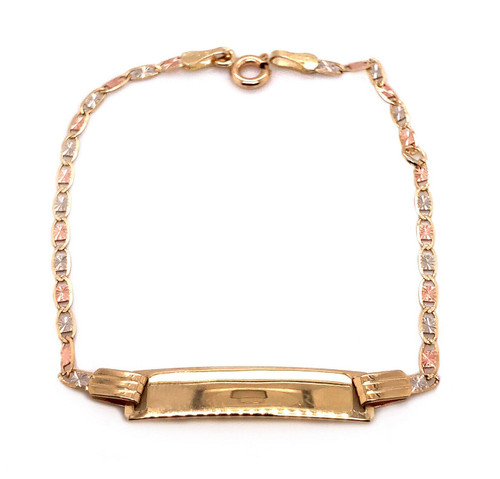 14k Tri Color Gold Valentino Chain Baby ID Bracelet 6""
