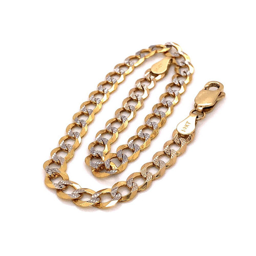 "14k Yellow Gold 4.7 MM Diamond Cut Cuban Link Chain Bracelet 8"" 5.3 Grams Unisex"