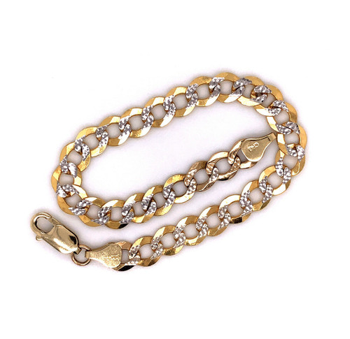 "14K Solid Yellow Gold 7MM Diamond Cut Cuban Link Chain Bracelet 8"" Mens 10.3 Gr"