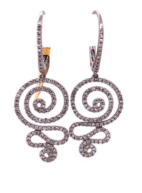 14k White Gold 0.96 Ct Natural Diamond Dangle Earrings SI1-2 G-H