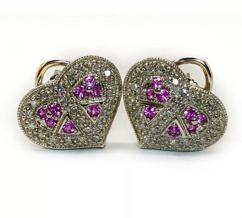 14K Solid White Gold Natural Diamond & Pink Sapphire Heart Womens Stud Earrings