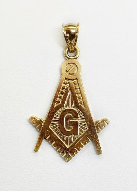 10k Solid Yellow Gold Free Mason Masonic Men Pendant 2 Grams