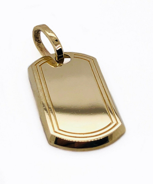 "Mens 10K Solid Yellow Gold Custom Dog Tag Charm Pendant, 1"", 2.5 Grams"