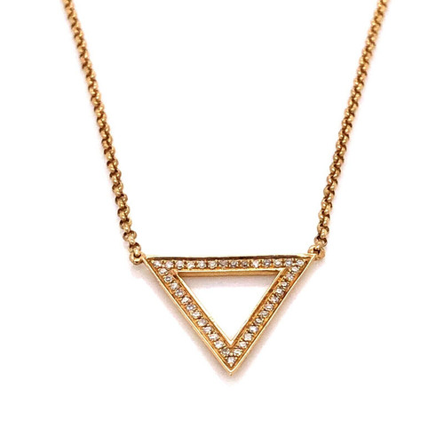 18k Yellow Gold 0.10Ct Natural Diamond Dainty Minimalist Triangle Delta Necklace
