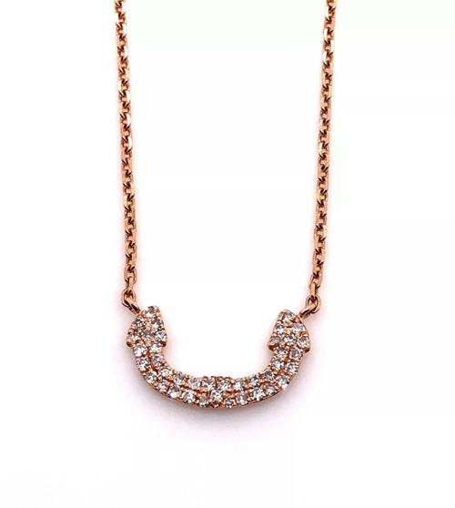 14k Rose Gold 0.14Ct Natural Diamond Dainty Minimalist Horseshoe Necklace