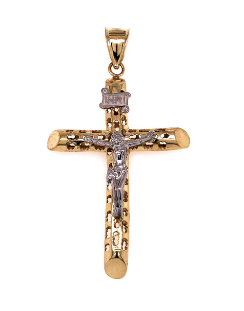 "10k Two Tone Gold Jesus Christ Cross Crucifix Pendant 1.61"" Large Men/Women"