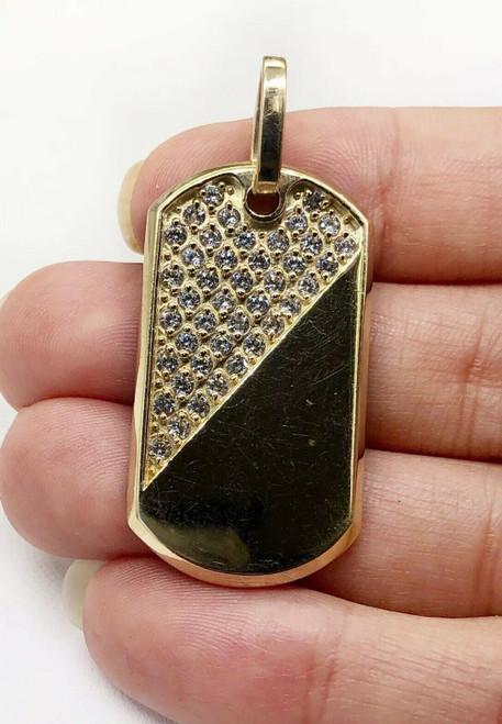 "Mens 10K Solid Yellow Gold CZ Custom Dog Tag Charm Pendant, 1.53"", 6.6 Grams"