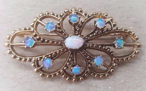 Vintage 14k yellow gold opal pin brooch pendant Victorian antique jewelry 1 TCW