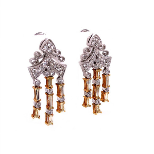 18K White Gold 1.89 TCW Natural Diamond Dangle Earrings 1.22""
