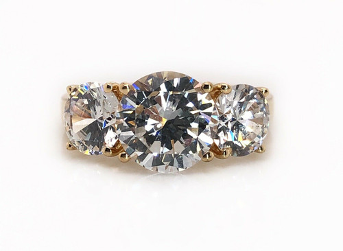 14K Solid Yellow Gold Round Three Stone Cubic Zirconia Womens Ring