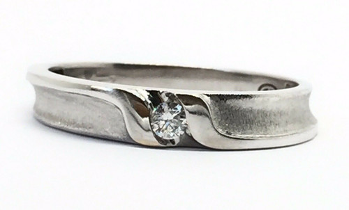 Mens 18k Solid White Gold Diamond 5 MM Size 10.75 Wedding Ring Band