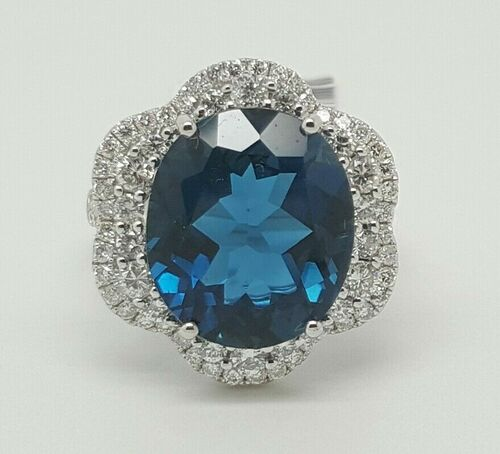 14k White Gold 10.08TCW Diamond & London Blue Topaz Halo Engagement Ring Size6.5