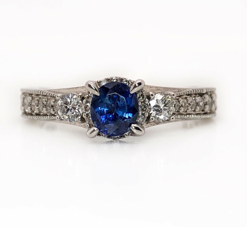 14k White Gold 1.40 Ct Round Blue Sapphire and Diamond Ring