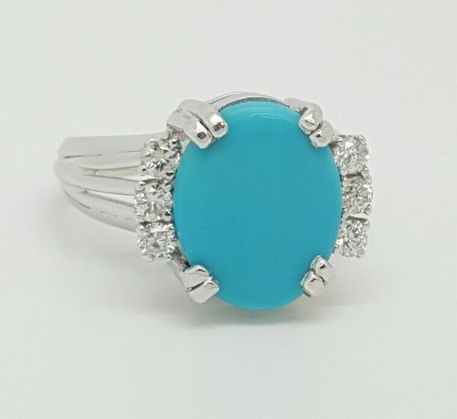 14k White Gold 2.80 TCW Natural Diamond & Turquoise Cocktail Ring G/VS2
