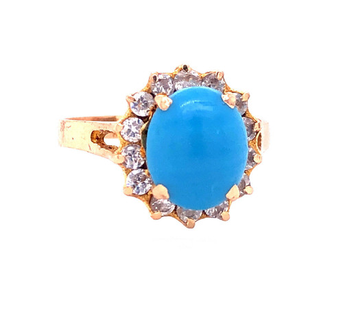 Vintage 18k Yellow Gold CZ & Turquoise Cluster Ring Size 7