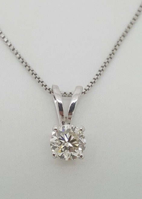 0.46Ct Genuine Round Brilliant Diamond 14k White Gold Solitaire Pendant & Chain