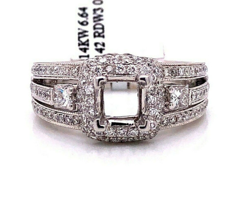 14K White Gold 0.86 TCW Diamond Semi Mount Engagement Ring Center 1 Ct Square