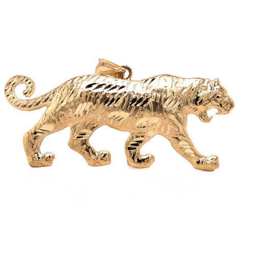 "Mens 10K Solid Yellow Gold Tiger Pendant Charm 9.1 Grams, 2.87"" Large"