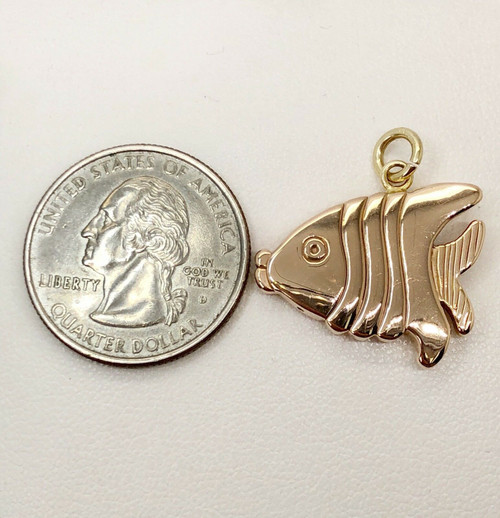 14K Rose Gold Fish Charm Pendant, Charm Bracelet 22 MM, 2.3 Grams