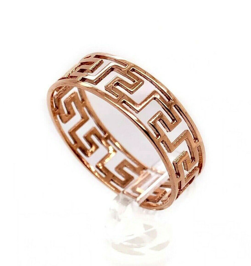 14K Rose Gold 6 MM Greek Key Band Ring Size 8.5, 1.6 Grams, Unisex