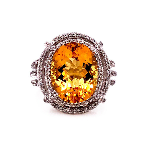 14K Solid White Gold 5.86 TCW Natural Diamond & Citrine Cocktail Ring