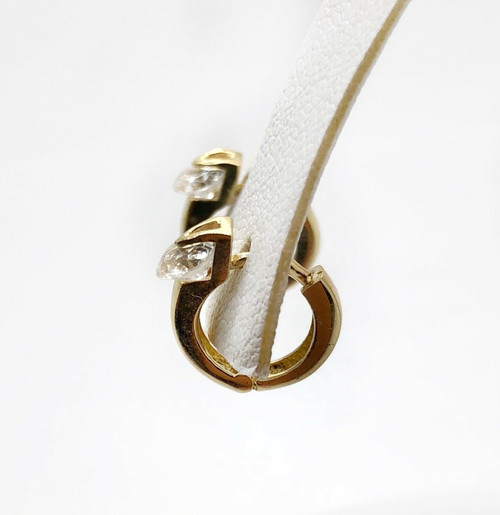 14K Solid Yellow Gold CZ Solitaire Hoop Earrings 11 MM Womens
