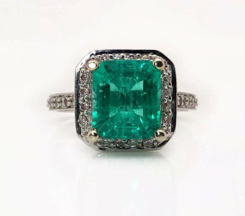 14k Solid White Gold Natural Diamond & Green Emerald Halo Ring 3.1 TCW