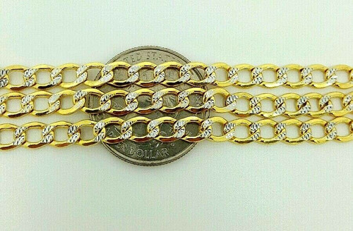 "Mens 14k Yellow Gold Diamond Cut 5.3 MM Cuban Link Chain Necklace 24"" 11.5 Grams"