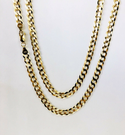 "Mens 14k Solid Yellow Gold Cuban Link Chain Necklace 24"", 5.7mm 20 Grams"