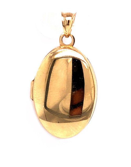 14k Solid Yellow Gold Oval Locket Pendant 4.7 Grams 0.94""