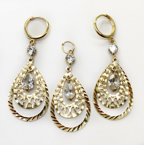 14k Yellow Gold CZ Pear Shape Drop Dangling Set of Earrings & Pendant Womens