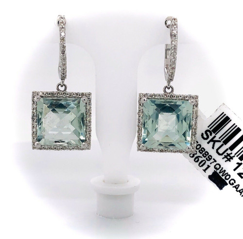 14k White Gold 7.94 TCW Diamond & Green Amethyst Drop Dangle Halo Earrings