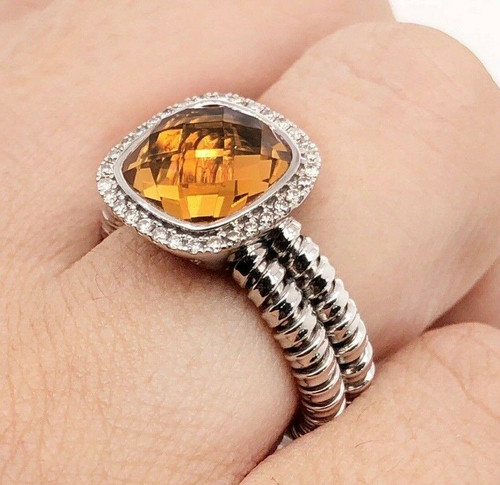 3.31 TCW Natural Diamond & Citrine Halo Double Shank Cable Ring