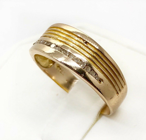 Mens 18k Yellow Gold 0.15 Ct Natural Round Diamond Ring 3.4 Grams Size 9.25