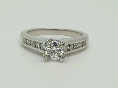 14k White Gold 0.70 tcw GSL Certified E-F, SI2 Round Diamond Engagement Ring
