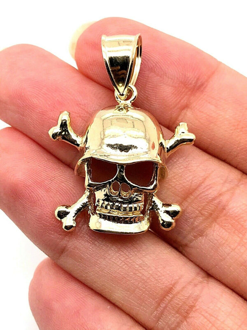 10k Solid Yellow Gold Skeleton Skull Head Face Pendant Charm 6.6 Gr 1.38""